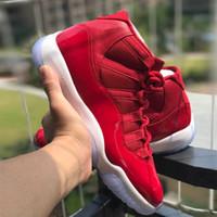 zapatos de fibra de carbono al por mayor-Top Real Carbon Fibre 11 Space Jam 11 Gym Rojo Midnight Navy Hombre Zapatillas de baloncesto Sports Sneakers talla US7-13