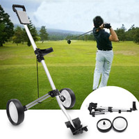 Wholesale golf carts resale online - Golf Trolley Folding Two Wheel Golf Push Pull Cart Portable Golf Trailer Wheel Trolley Swivel with Cup Holder