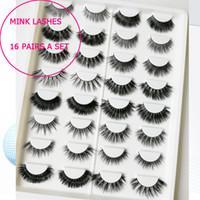 Wholesale wholesale korean eyelash - 16 pairs a set Mink Lashes Eyelashes False Eyelashes mink Strip Lashes Cruelty Free Korean Mink Lashes cruelty free natural false lash mixed