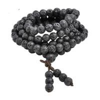 тибетский бисера ожерелье оптовых-Горячая Оптовая 6 мм 8 мм природный Лава Камень Камень исцеление драгоценный камень 108 буддийский молитвенные бусины Тибетский мала браслет ожерелье