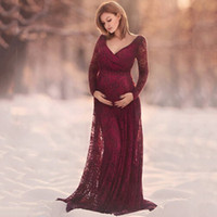 68160bb9f283 elegant clothing for pregnant women Canada - Women Dress Maternity  Photography Props Lace Pregnancy Clothes Elegant