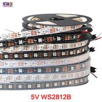 Wholesale 5v rgb led 5m addressable resale online - 5m DC5V individually addressable ws2812b led strip ws2811ic Built in pixels smart rgb led light tape ribbon IP67