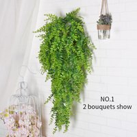Wholesale vines leaves - fake Hanging Plant Artificial Green Plant Leave Wall Vine Home Hotel Decoration Balcony Basket Kep Accessorie Decor Flower Simulation Rattan