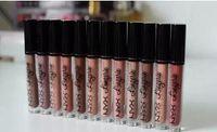 Wholesale nude lipstick free shipping resale online - NYX lip Matte nude color waterproof matte lip gloss lipstick Long lasting Brand Makeup Lipsticks Lip Gloss colors