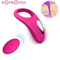 Wholesale dildo rings for sale - Group buy Dildo Vibrator USB Recharge Delay Cocking Vibrating Couple Sex Toys Men Remote Control Vibrator Delay Premature Ejaculation Ring Y18101001