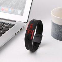 akıllı dokunmatik ledli saat toptan satış-Akıllı Spor İzle Casual Dokunmatik Ekran LED Dijital Silikon Kayış Spor Bilek İzle Erkekler Kadınlar Spor Izci Bilezik