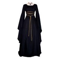 cosplay vestidos del victorian al por mayor-Medieval de la Mujer Sólido de La Vendimia Vestido Gótico Victoriano Renacimiento Maiden Vestidos Retro Vestido Largo Cosplay Para Halloween