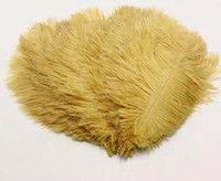 Wholesale feathers 25 inches for sale - 50pcs Gold Ostrich Feather Cm Inches Plumages Splendid Ostrich Feather For Wedding Decorations Plume