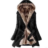 ingrosso signore del cappotto del parka rivestito di pelliccia-Fodera in pelliccia ecologica Felpe con cappuccio da donna Cappotti da donna Sping inverno caldo cappotto lungo giacca in cotone con parka termico