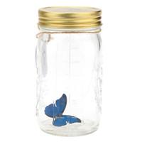 ingrosso decorazioni farfalla blu-Romantico vetro LED lampada farfalla vaso San Valentino regalo decorazione blu