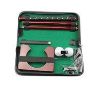 el golf de madera más caliente al por mayor-Venta caliente portátil de cuero genuino Rose Wood Golf Putting Training Set