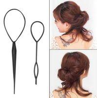 Wholesale clip braided ponytails - Ponytail Creator Plastic Loop Styling Tools Black Topsy Pony Topsy Tail Clip Hair Braid Maker Styling Tool Fashion Salon CCA9056 1000pcs