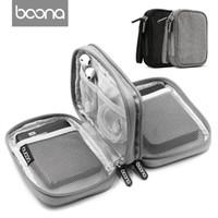 sabit disk taşıma çantaları toptan satış-Boona Oxford Kumaş Çift Güverte Yumuşak Darbeye Dayanıklı Taşıma Dijital Organizatör Seyahat Harici Depolama HDD Kutusu Sabit Disk Kılıfı Çanta