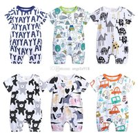 Wholesale open crotch shorts - Baby boy Unicorn Jumpsuit cotton comfortable baby clothing open shoulder Crotch animals cartoon letter printed Romper for newborn baby H082