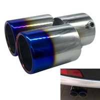 Wholesale double exhaust - Free Shipping Universal car grilled blue tail pipes stainless steel automobile exhaust pipe modified double muffler turbo simulator