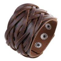 кожаный браслет крюк браслет оптовых-Старинные Boho браслеты для женщин мужчины ювелирные изделия Wrap многослойные натуральная кожа браслет браслеты круги крюк письмо панк