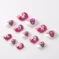 Wholesale fake nails girls - Hot Flower Hearts Fake Nails 24 Pcs Red and White Pre-glue Press on Fake Nail Tips for Little Girls Kits patch for Finger