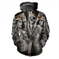 Wholesale Groom Belts - New Fashion Men Women 3d Hoodies Print Metal Skulls Bride Groom Hooded Hoodies Thin 3d Sweatshirts Hoody Tops