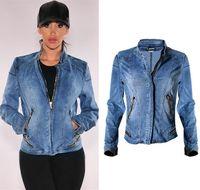 ingrosso giacche da baseball usa-Lady Baseball Jacket Stretch Denim Biker Motocycle Wear Europa e USA Cerniera Patch Jean Abbigliamento femminile