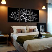 Wholesale three piece painting tree - 3 piece Wall Abstract Metal Wall Art Tree Canvas Print Tree landscape paintings 3 panels pictures for living room no frame