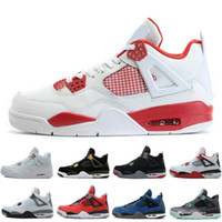 Wholesale money fishing - 2018 4 4s Mens Basketball Shoes Motosports Blue Fire Red White Cement Pure Money Black Cat Bred Fear Pack Athletic Sports Sneakers trainers