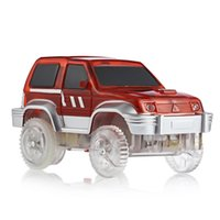 Wholesale plastic car tracks resale online - 2017 New Electronics Car with Flashing Lights Children s Educational Toys Racing Glows Track Set Boys Birthday Gifts for Kids