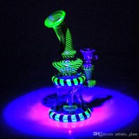 Wholesale Pipe Materials - Double Recycler Glass Water Pipes Mini Uv Material Noctilucent Striped Glass Bongs Bubblers Beaker Scientific Smoking Bongs Dab Rigs Bong