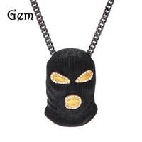 hip hop maskeli adam toptan satış-2017 Yeni Altın Maske Hip hop Bling Kolye Erkek Altın Takı Buzlu Out Kadın Erkek Hediye Hip Hop CSGO Kolye Kolye takı