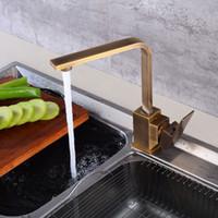 ingrosso rubinetti antichi nuovi-Rubinetti della cucina New Classic Antique Brass Crane kitchen Faucets Miscelatore per acqua calda e fredda Tap Miscelatore moderno Torneira