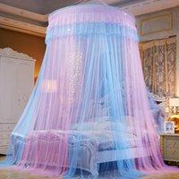 tienda de mosquitos al por mayor-Patchwork Color Hung Dome Mosquitera Plegable de encaje Adultos Canopy Redondo Kids Bed Tent Princess Cortina de cama de malla Mesh moustiquaire