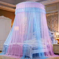 Wholesale mosquito canopy tents resale online - Patchwork Color Hung Dome Mosquito Net Folding Lace Adults Canopy Round Kids Bed Tent Princess Bedding Curtain Mesh moustiquaire