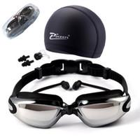 lentes usadas venda por atacado-Miopia Óculos de Natação HD míopes Natação Óculos dioptria Óculos chapeamento lente Nearsighted Uso da piscina de natação 3 pçs / set