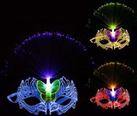 ingrosso abiti da festa per le donne-Le donne veneziano LED fibra maschera masquerade fancy dress partito principessa piume maschere multi colori per il partito