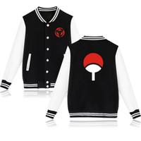 produktschreiben großhandel-Herbst Kleidung neues Produkt Naruto Peripherie Mann Tag die zwei Dimension Yu Zhibo Sasuke schreiben Runde Augen Druck Baseball dienen Jacke Mantel