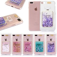 Wholesale pink perfume bottles - Girl Pink Glitter Bling Perfume Bottle Dynamic Liquid Quicksand Phone Cases For iphone 8 8Plus 7 7 plus 6S 6 5 5s