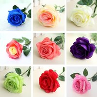 Wholesale nice display - Nice Rose Artificial Flowers Bouquet Bridal Wedding Bouquet Wedding Party Home Decorative Flowers 200pcs lot T2I088