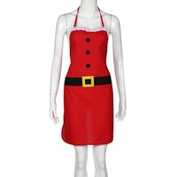 украшения для шеф-повара оптовых-Christmas apron Decoration Santa Apron Home Kitchen Cooking Baking Chef Red Decor Modern cute F80