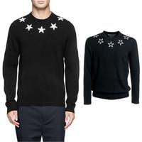 suéter de algodón negro al por mayor-Stars Applique Black Sweater para hombre de invierno Jersey de punto Wool + Cotton Jumper Male