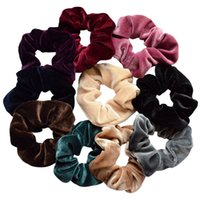 Wholesale hair bows for women - Randomy color Hair Scrunchies Velvet Hairband Ponytail Holder Tie Bow for Women Tie Ropes Adult Elastic Girls Hair Ties Gum Accessories