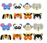 festa dos animais do zoológico venda por atacado-Espuma de EVA Animal Máscaras para Crianças Favores da Festa de Aniversário Vestir-se Traje Zoo Selva Partido Suprimentos