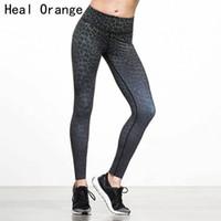 ingrosso calze donna arancione-HEAL ORANGE Women Sport Legging Sexy Leopard stampato Yoga Pantaloni Plus Size Fitness Sport Pantaloni palestra Running Tights Abbigliamento sportivo