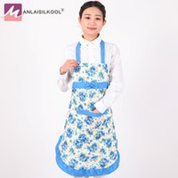 Wholesale Neck Hanged Females - 2018 Fashion korean aprons tablier cuisine kitchen apron hang neck style female using sleeveless rose flower pattern design