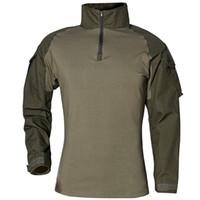 military tactical t shirt toptan satış-Açık havada Spor Uzun Kollu T Gömlek Sürme Yaz Erkekler Ru Askerler Savaş Taktik Kamuflaj Askeri Eğitim Giyim 55xa jj