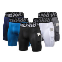 Wholesale man tight yoga pant for sale - Group buy Men Pocket Fitness Shorts Quick Dry Tights Pants Running Jogging Leggings Yoga Male Compression Gym Fitness Clothing Training Sport Trouser