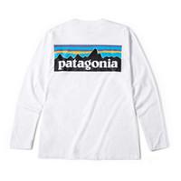 diseño del cuello de la camiseta al por mayor-Camisetas de diseñador de fondo para hombre de otoño blanco Patagonia Mountain Design O-cuello Camiseta Tops
