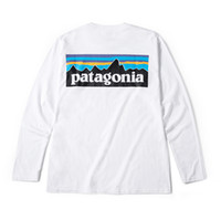 tişör boynu tasarımı toptan satış-Erkek Sonbahar Dip Tasarımcı Tişörtleri Beyaz Patagonya Dağ Tasarım O-Boyun Tişört Tops