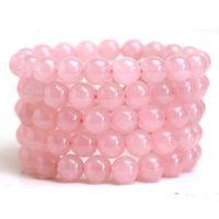 cadena de cristal de cuarzo al por mayor-Natural Rosa cuarzo pulsera de cuentas de cristal de cuarzo rosa pulsera Strand joyería de las mujeres