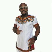 fenda da camisa de t venda por atacado-Homens Preto Branco Africano Dashiki Design T-Shirt Ocasional Outfit Mangas Curtas de Algodão Fenda Top Tripulação Tripulação Pescoço Camisa DS-045