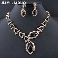 Wholesale jade jewellery sets - whole salejiayijiaduo African beads jewellery set Black Crystal Wedding Necklace Set womens clothing accessories bridal jewelry sets 2017