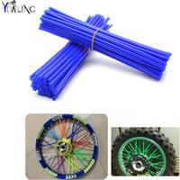 Wholesale dirt bike yamaha - 72Pcs Wheel RIM Spoke Skins Sticker Accessories Dirt Bike For YAMAHA TRICKER DT TW PW RT 50 80 85 90 100 125 225 230 250 426